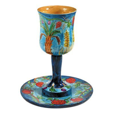 Hand Painted Wood Kiddush Cup and Coaster / The Seven Species Design