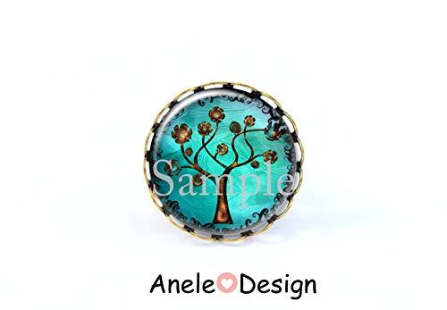 Bague arbre de vie, bague cabochon, bleu marron, papillons, bijou arbre de vie