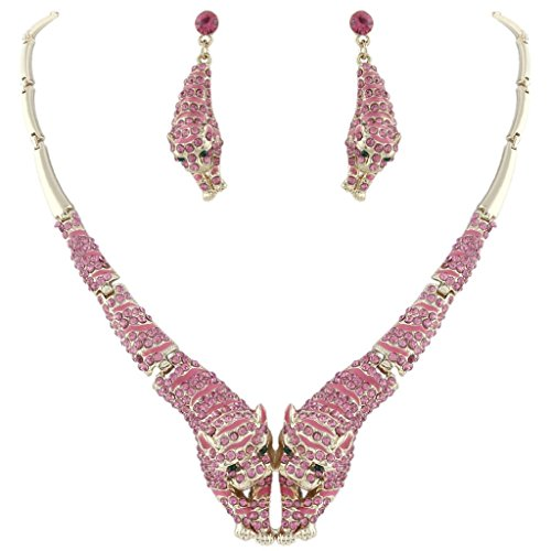 (EVER FAITH Women's Austrian Crystal Enamel Tiger Lover Necklace Earrings Set Purple w/Pink Gold-Tone)