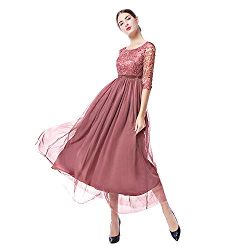 Women Retro Floral Lace Long Dress 1/2 Sleeve Bridesmaid Wedding Evening Party Cocktail Maxi Gown Pink - Sleeve Gown