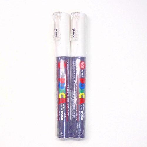 Uni Posca Paint Marker PC-1M White, 2 pens per Pack(Japan Import) [Komainu-Dou Original Package]