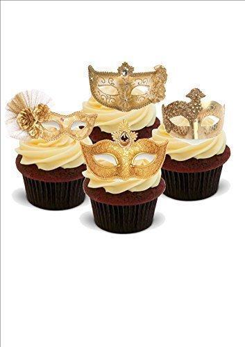 Baking Bling Stunning Masquerade Ball Gold Masks Mix - Standups 12 Edible Standup Premium Wafer Cake Toppers - 2 x A5 Sheet - 12 Images