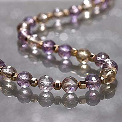 Gemshiner Joyas para Mujer, Collar de Piedras Preciosas ametrinas Collar de Perlas ametrinas facetadas de 8 mm Collar de Piedras Preciosas curativas chapadas en Oro Rosa Collar de Plata Chane