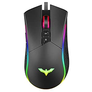 Havit RGB Gaming Mouse Wired Programmable Ergonomic USB Mice 4800 Dots Per Inch 7 Buttons & 7 Color Backlit for Laptop…