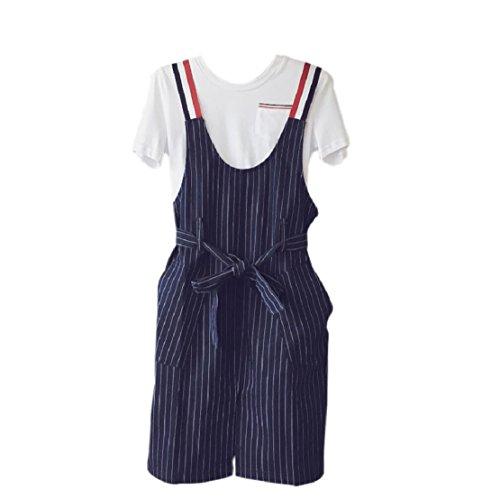 Correas Sypdress Jeans falda femenina 2017 Verano nuevo espectáculo fina cintura estrecha franja vertical de dos piezas de vestir Falda Suspender XL