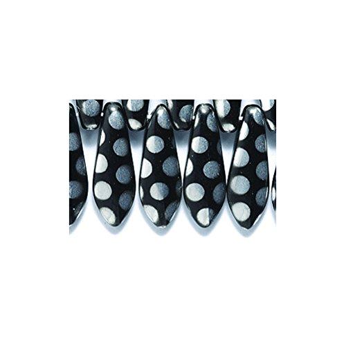 Preciosa 92DP109-I5 Traditional Black with 2mm Labrador Dot Drops, 5 x 16mm (5 Beads 16mm)