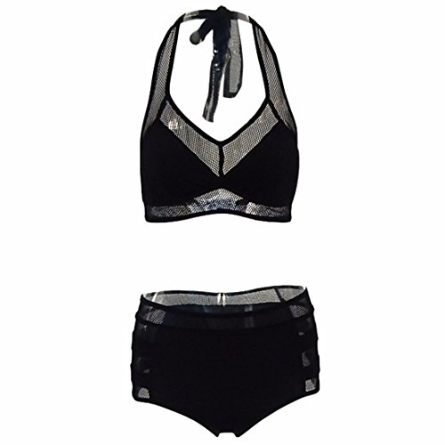 QIYUN.Z Mujeres Verano Playa Negro Cuadros Ahueca Hacia Fuera Conjuntos De Bikini Padding Sujetador Trajes De Baño Negro