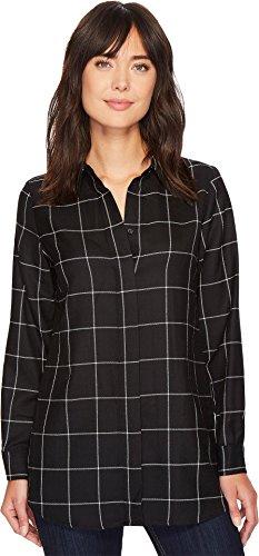 Windowpane Plaid Shirt (Pendleton Women's Cassandra Plaid Shirt Black Windowpane Plaid X-Small)