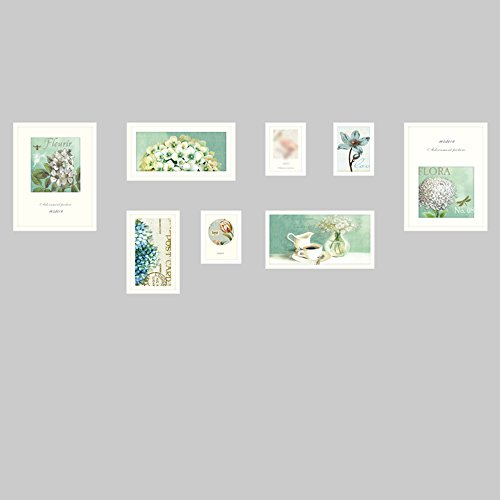 European photo wall / photo frame wall simple photo frame wall combination / living room dining room modern photo wall 8 box 190 68cm ( Color : White ) by Photo Wall