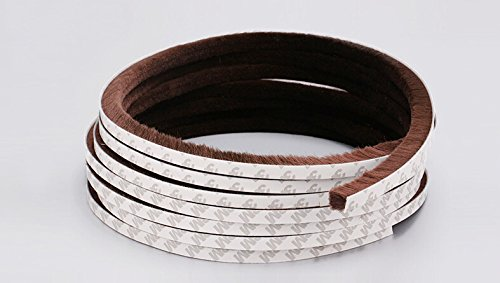 9mm x15mm Self Adhesive Dustproof Aluminum Window Door Tape Brush Seal Strip Weatherstrip Draught Excluder (Brown)