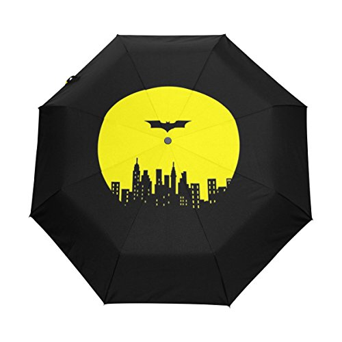 senya Saobao Windproof and Rainproof Travel Umbrella with Automatic Open and Close Folding Black Batman Portable Foldable Sun Rain (Imprinted Golf Umbrellas)
