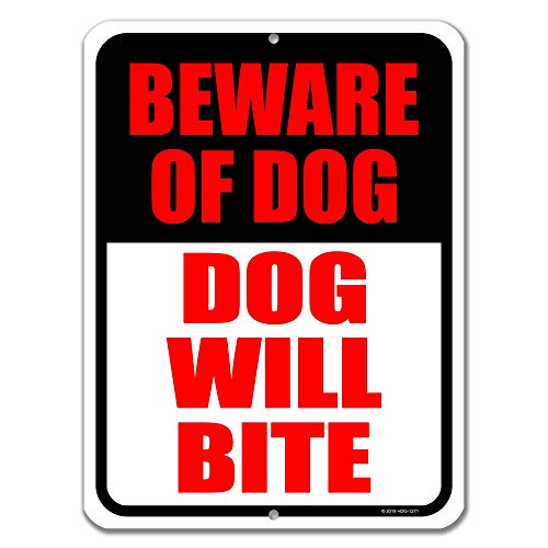 Honey Dew Gifts Dog Sign, Beware of Dog Dog Will Bite 9 inch by 12 inch Metal Aluminum Beware of Dog Signs for Fence, Made in USA