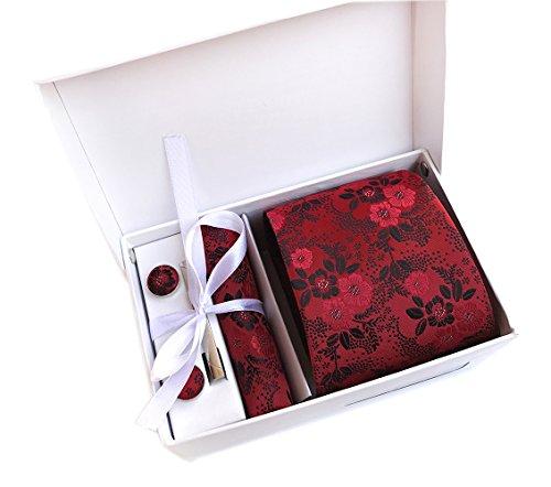 Secdtie Men Red Black Suit Tie Floral Woven Silk Paisley Party Necktie Gift KB15