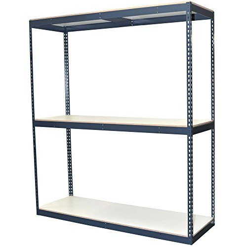 3-Shelf Bulk Storage Steel Boltless Shelving Unit w/Double Rivet Shelves & Laminate Board Decking (Price Varies by Size)