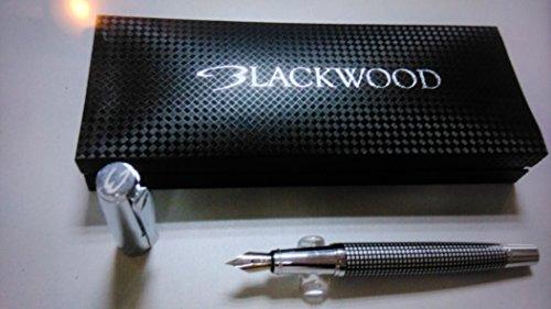 Fountain Pens By Blackwood Calligraphy Ink Pen Chrome Writing Instument Matrix Design Cartridge or Bottle Pump Converter Carbon Fibre Effect Gift Box 100% Guarantee