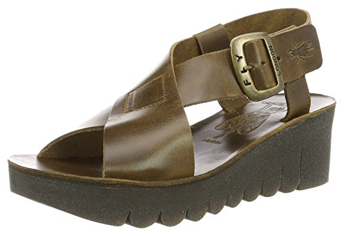 FLY London Women's Yild880fly Wedge Sandal - Camel Brindl...