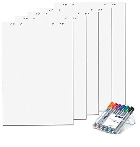 10/x blocs perforado papel para rotafolio 5 Bl/öcke kariert color blanco blanco//blanco 6/orificios por bloc 20/hojas 69/x 99/cm
