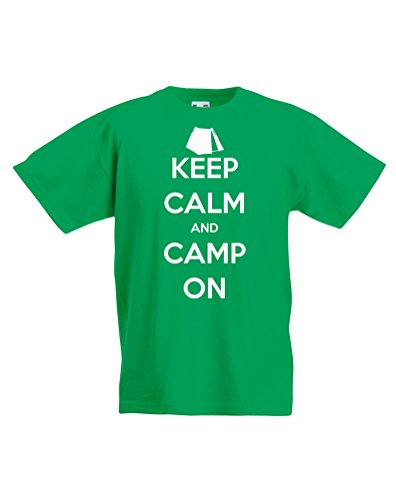 Keep Calm and Camp On, Kids Printed T-Shirt - Kelly Green/White 12-13 Years