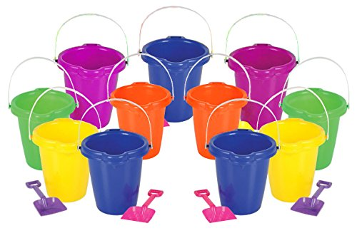 4E's Novelty 1 Dozen Beach Sand Pails and Shovels 7 inch, assorted colors, Sand Buckets for Kids, Sand Buckets -