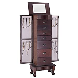 Giantex Standing Jewelry Armoire Cabinet Storage Chest with 7 Drawers, 2 Swing Doors, 12 Necklace Hooks, Makeup Mirror…