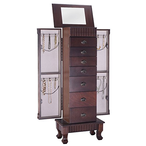 Giantex Jewelry Armoire Chest Cabinet Organizer Wood Bedroom Furniture with 1 Makeup Mirror Lid 12 Necklace Hooks Swing Door Makeup Storage Drawer Stand Large Standing Jewellery Armoire w/ 7 Drawers