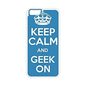 iPhone 6 Plus 5.5 Inch Cell Phone Case White Keep Calm Geek On Custom Back Phone Case Cover XPDSUNTR23909