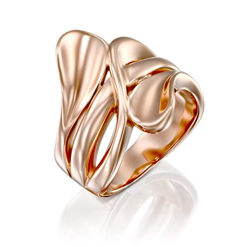 PZ Paz Creations 14k Rose Gold Over Solid 925 Sterling Silver Polished Modern Statement Bypass Ring (Rose Gold, 6)