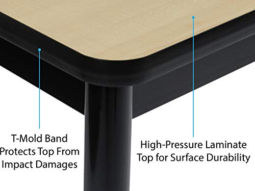 Correll 36'' High Standing / Stool Height Utility Table, 30'' x 60'' Fusion Maple High-Pressure Laminate Top with Black Frame , Rock Solid Commercial Quality (LT3060-16) by Correll (Image #6)