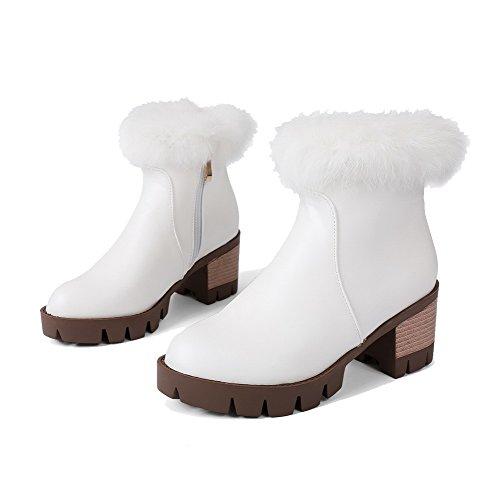 AllhqFashion Damen Reißverschluss Mittler Absatz Mikrofaser Rein Rund Zehe Stiefel Weiß