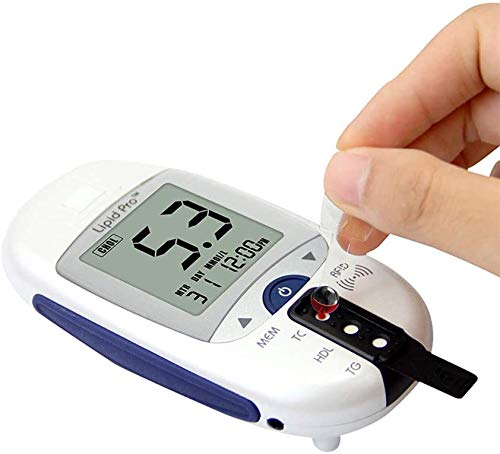 WYZXR Blood Cholesterol and Glucose Test Kit Digital Meter 10 Total Cholesterol Strips Included