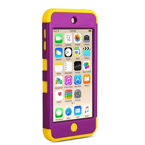 APPLE iPod Touch 6 Case, ShockProof Cover, 3 in 1 Soft Silicone and Hard PC Hybrid Protective Bumper by Boonix (Yellow Trim / Royal Purple)