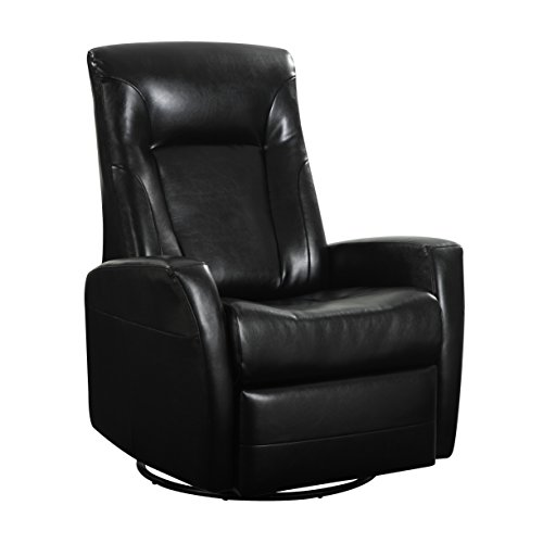 Cheap Emerald Home Conrad Black Recliner with Faux Leather Upholstery, Swivel Glider, And Head Rest