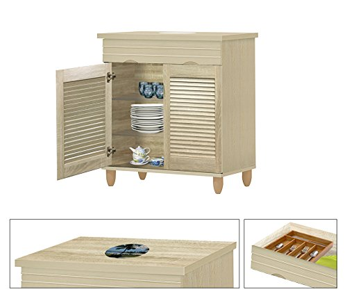 NEW! Kitchen Buffet Hutch with Drawer in a Beige Whitewash Finish Featuring the Choice of Your Favorite Novelty Themed Logo Decal-KITCHENWARE NOT INCLUDED (Hawaii Cartoon) by The Furniture Cove