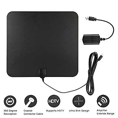Nokire Amplified HDTV Indoor Antenna, 50 Mile Digital Long Range with Detachable Amplifier Signal Booster Upgraded Version USB Powered Supply Better Reception for Life - 10ft Coaxial Cable