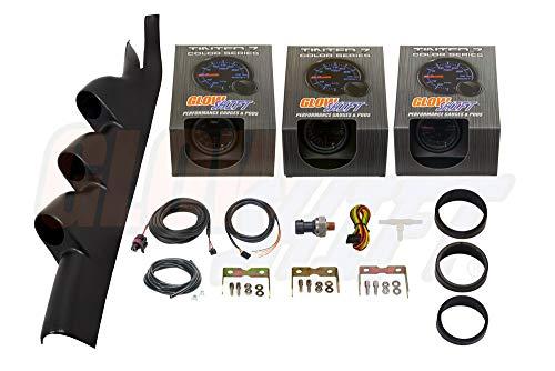 GlowShift Gauge Package for 2005-2014 Ford Mustang Cobra GT Hardtop - Tinted 7 Color 30 PSI Boost/Vacuum, Narrowband Air/Fuel Ratio & 100 PSI Oil Pressure Gauges - Black Triple Pillar ()