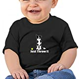 Sfjgbfjs Black Baby JUST Throw IT T-Shirt 18M Soft Cozy Infant Short Sleeve Undershirts