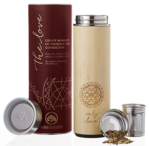 (The Love Bamboo Tea Tumbler with Infuser + strainer 18 oz for Loose Leaf Tea, Coffee & Fruit Water. Vacuum Insulated Travel Bottle. Leak Proof + BPA Free)