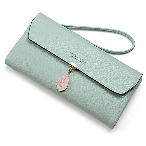 UTO Women Wristlet Large Capacity Wallet Leaf Pendant PU Leather Card Slot Zipper Coin Phone Holder Purse Green