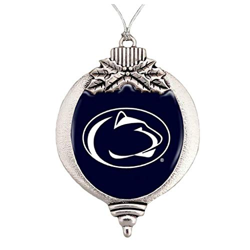 FTH Penn State Nittany Lions Bulb Silver Metal Christmas Ornament Gift Tree Decoration (Christmas State Penn Ornaments)
