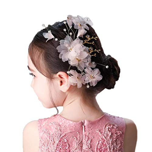Campsis Cute Princess Headpiece Pink Silk Flowers Tiara Crystals Bride Hair Cilps Decorative Hair Accessories for Flower Girls and Bridesmaid ()