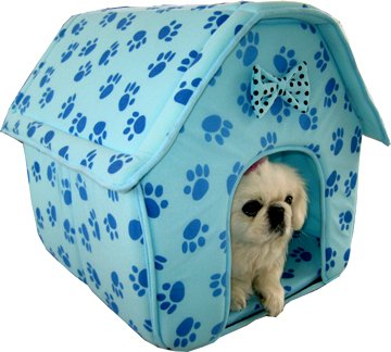 Cat/Dog Pink Collapsible Paw Prints Pet House *Blue*, My Pet Supplies