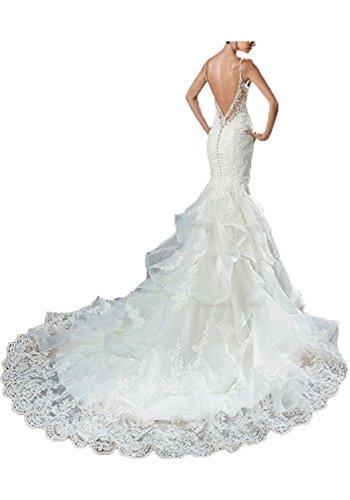 Luxurious Hochzeitskleid Spitze Hochzeitskleider Mermaid Rückenfrei Elfenbein Weiß Meerjungfrau Spitzen Mingxuerong Tüllrock Damen xUB7qUO