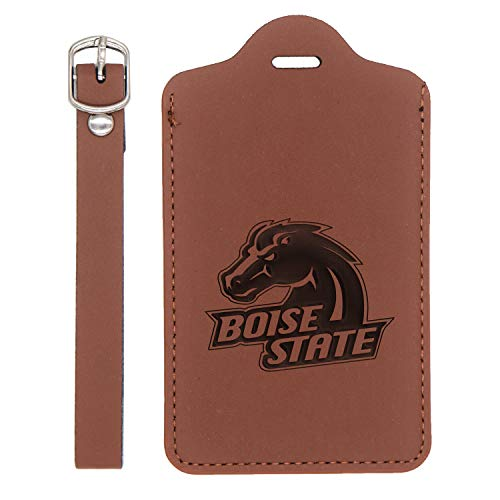 Boise State Broncos 3 Engraved Synthetic Leather Luggage Tag (Chestnut Brown - Set Of 2) - United States Standard - Handcrafted By Mastercraftsmen - For Any Type Of Luggage