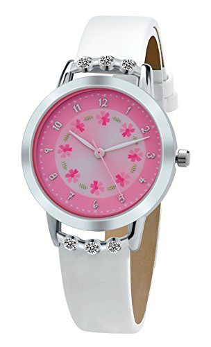 DOVODA Girl Watches Easy Reader Time Teacher Flowers Diamond Pink Dial White Leather Strap