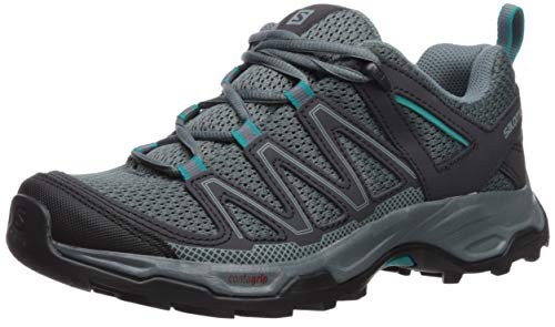 Salomon Women's Pathfinder W Trail Running Shoe, Stormy Weather/Phantom/tropicla Green, 9 M US