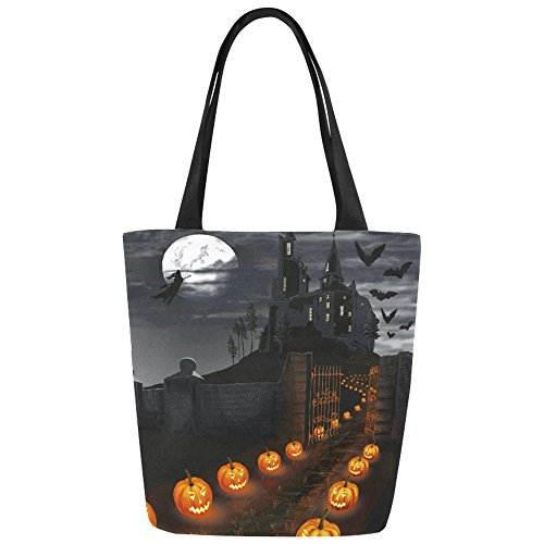 InterestPrint Halloween Castle Pumpkin Moon Canvas Tote Bag Handbag Shoulder Bag for Women Girls