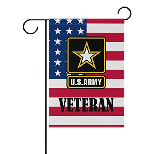 Donnapink US Army Veteran American Military American US Flag United States Army Weatherproof Polyester Garden Flag 12
