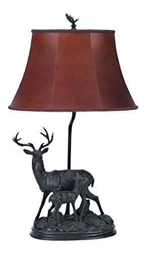100w Deer Lamp Table - Dark Bronze 100 Watt 28in. Country / Rustic Resin Deer Table Lamp with On/Off Switch and Oval Bell Leatherette Shade from the Deer Collection