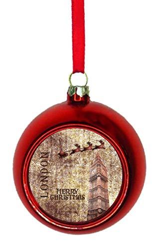 1d599d0bb4c3 Rosie Parker Inc. Ornaments Vintage Grunge Santa Klaus and Sleigh Riding  Over Big Ben London