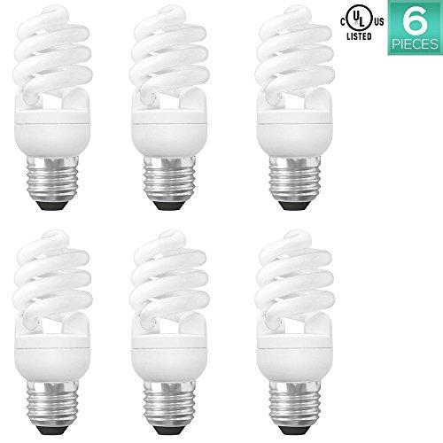 15w Warm White Cfl (Luxrite LR20175 (6-Pack) 13-Watt CFL T2 Mini Spiral Light Bulb, Equivalent To 60W Incandescent, Warm White 2700K, 900 Lumens, E26 Standard Base)